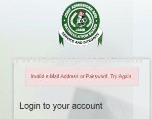 JAMB invalid email password